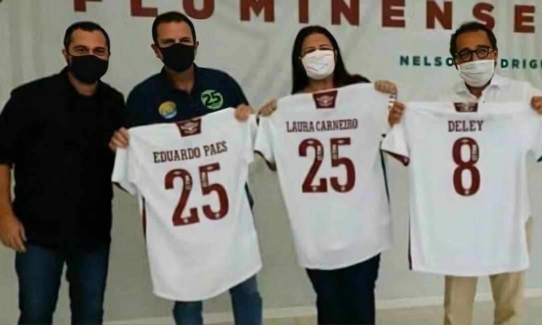 Candidatos foram recebidos no CT do Fluminense por Mário Bittencourt e Deley Foto: Reprodução
