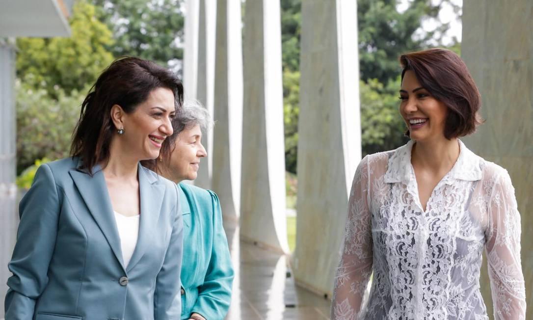 A primeira-dama da Armênia, Anna Hakobyan, ao lado de Michelle Bolsonaro em visita ao Palácio da Alvorada Foto: Reprodução site oficial Anna Hakobyan