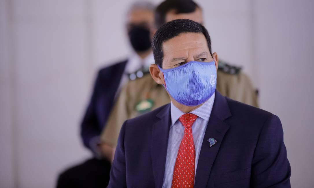 O vice-presidente Hamilton Mourão durante cerimônia do Exército Foto: Romério Cunha/Vice-Presidência/01-10-2020