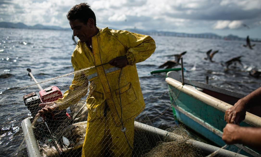 Sobreviver diante da poluição na Baía de Guanabara e da concorrência das grandes embarcações está entre os desafios atuais de pescadores artesanais Foto: Hermes de Paula / Agência O Globo