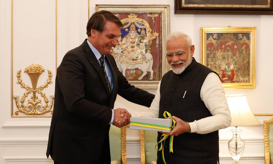 Jair Bolsonaro e o premiê indiano Narendra Modi, em Nova Déli Foto: Alan Santos/PR