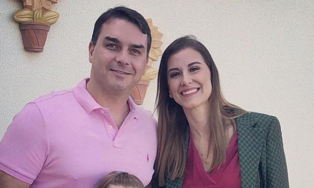 Flávio e Fernanda Bolsonaro Foto: Reprodução