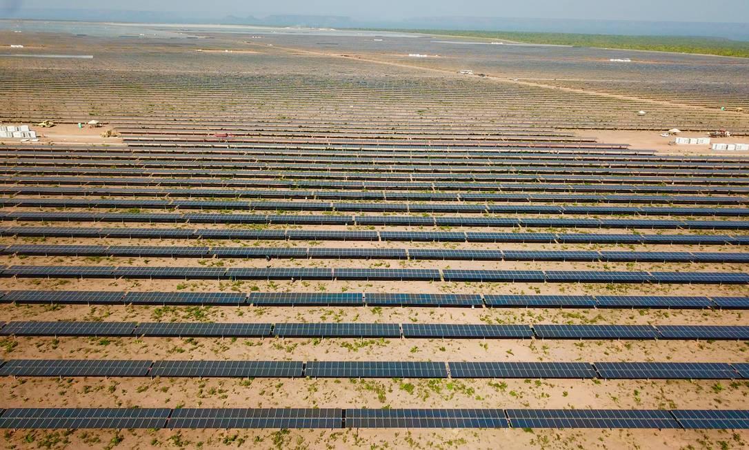 Parque solar da Enel em São Gonçalo do Gurgeia, no Piauí: grupo está construindo projeto de energia renovável que será conectado ao Sistema Interligado Nacional Foto: Divulgação