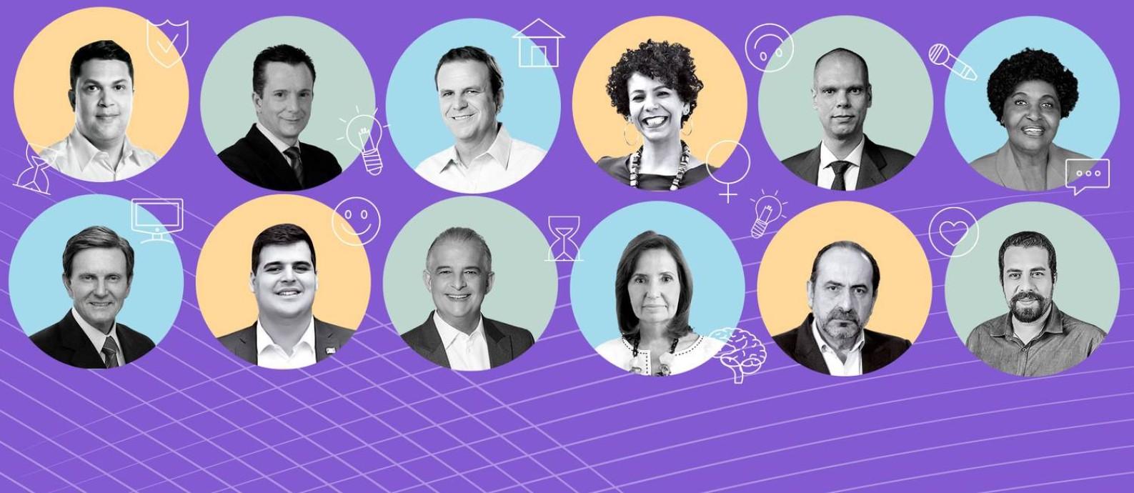 Principais candidatos de Rio, São Paulo e Belo Horizonte apontam pontos positivos de seus adversários a três semanas do primeiro turno Foto: Arte O Globo