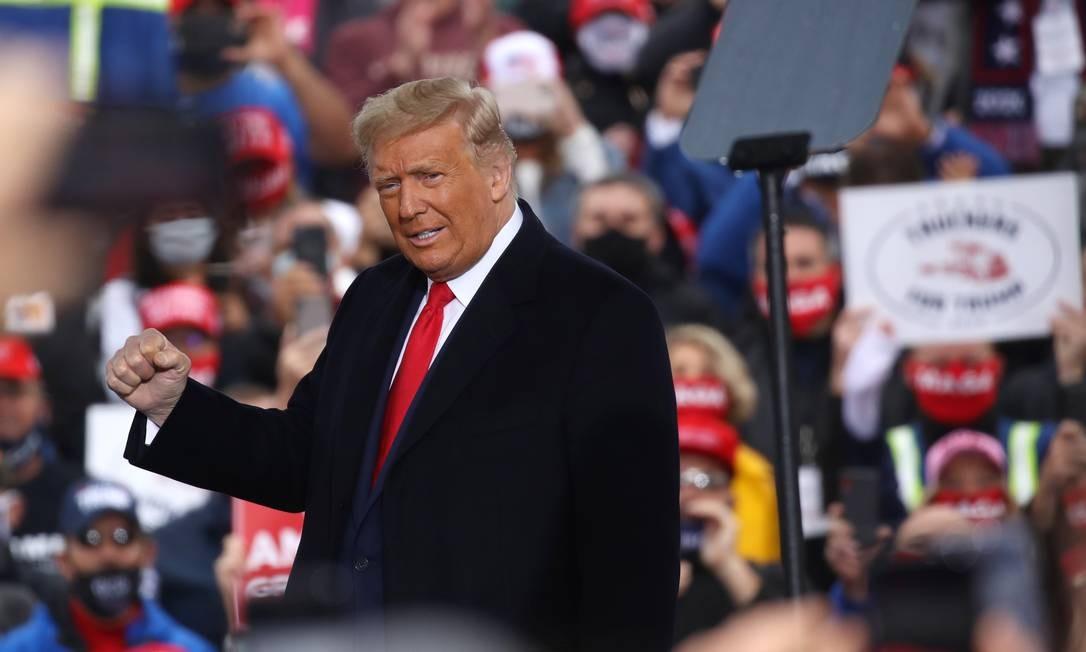 Trump fala a apoiadores em Allentown, Pensilvânia, estado-chave para as eleições de 3 de novembro Foto: SPENCER PLATT / AFP