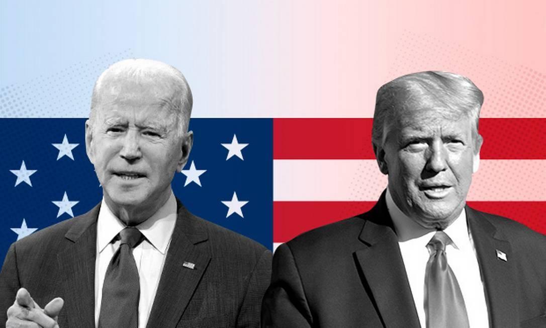 Joe Biden e Donald Trump, a pouco mais de uma semana do fim da votação nos EUA Foto: Editoria de Arte