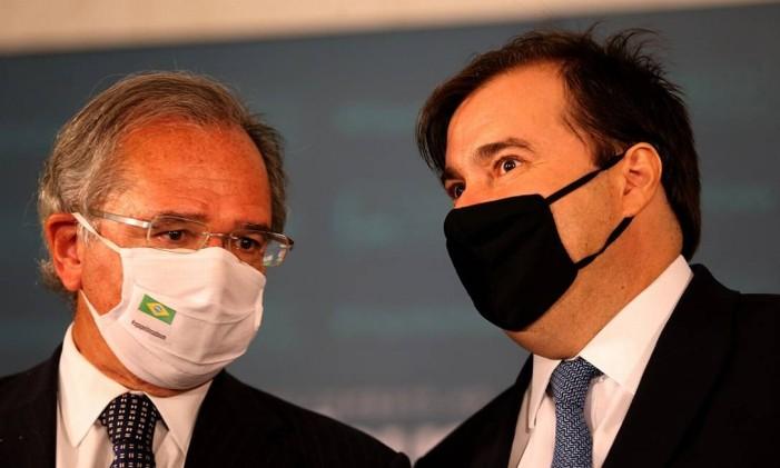 O ministro da Economia, Paulo Guedes e o presidente da Câmara dos Deputados, Rodrigo Maia. Foto: Jorge William / Agência O Globo