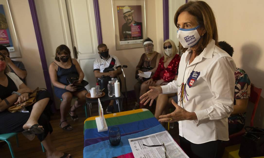 Martha Rocha (PDT) visita a sede do Grupo Arco-Iris, no Centro do Rio Foto: Leo Martins / Agência O Globo - 26/10/2020
