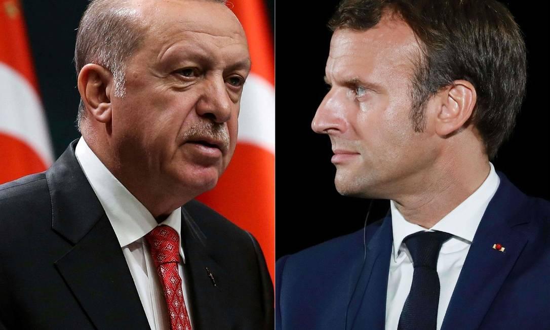 Erdogan (esquerda) versus Macron: disputa de narrativas sobre caricaturas do profeta Maomé Foto: AFP/ 12-09-2020