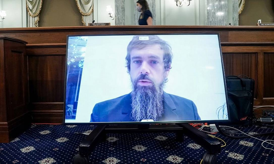 Jack Dorsey, CEO do Twitter, na audiência remota. Foto: POOL / REUTERS