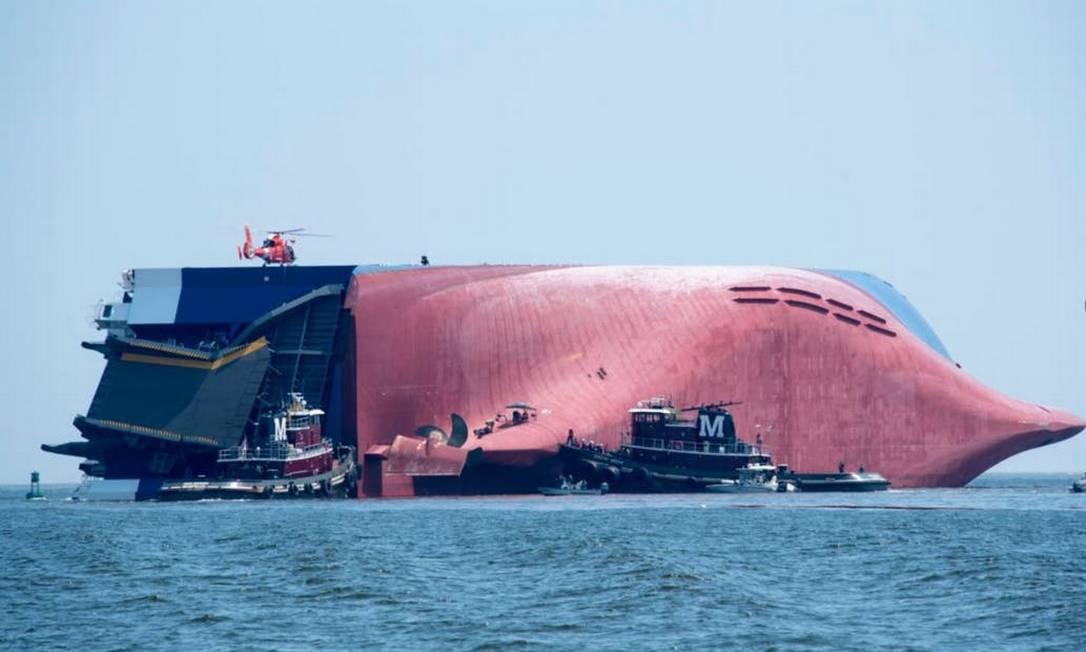 Navio Golden Ray naufragou na Georgia em 2019 Foto: Reprodução