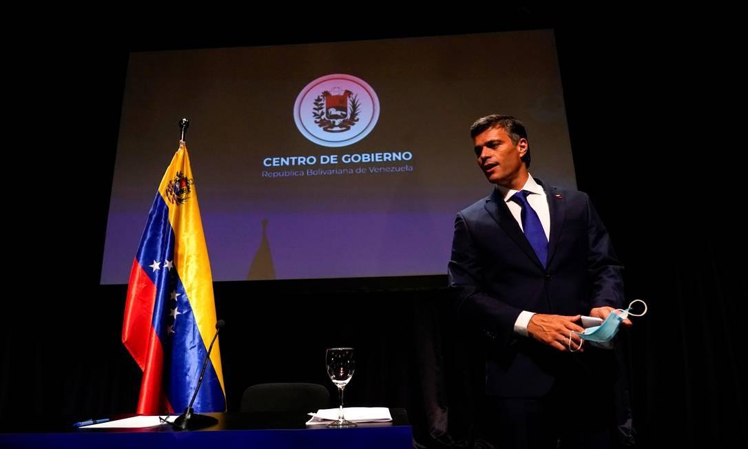 Leopoldo Lopez durante entrevista a jornalistas em Madri, na Espanha Foto: JUAN MEDINA / REUTERS