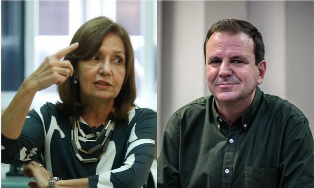 Os candidatos à Prefeitura do Rio Martha Rocha (PDT) e Eduardo Paes (DEM) Foto: Arquivo O GLOBO
