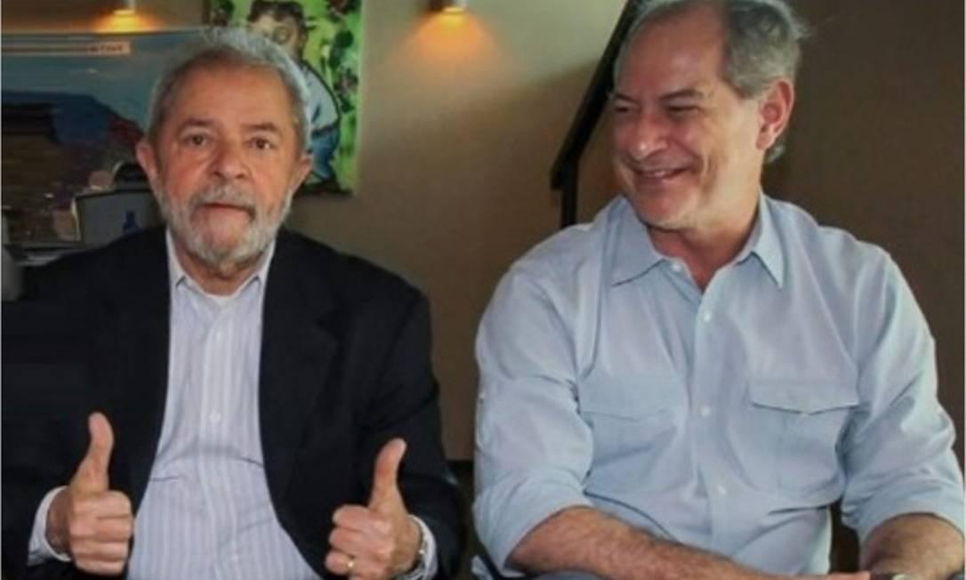 Ex-presidente Luiz Inácio Lula da Silva (PT) e o ex-ministro Ciro Gomes (PDT) Foto: Reprodução