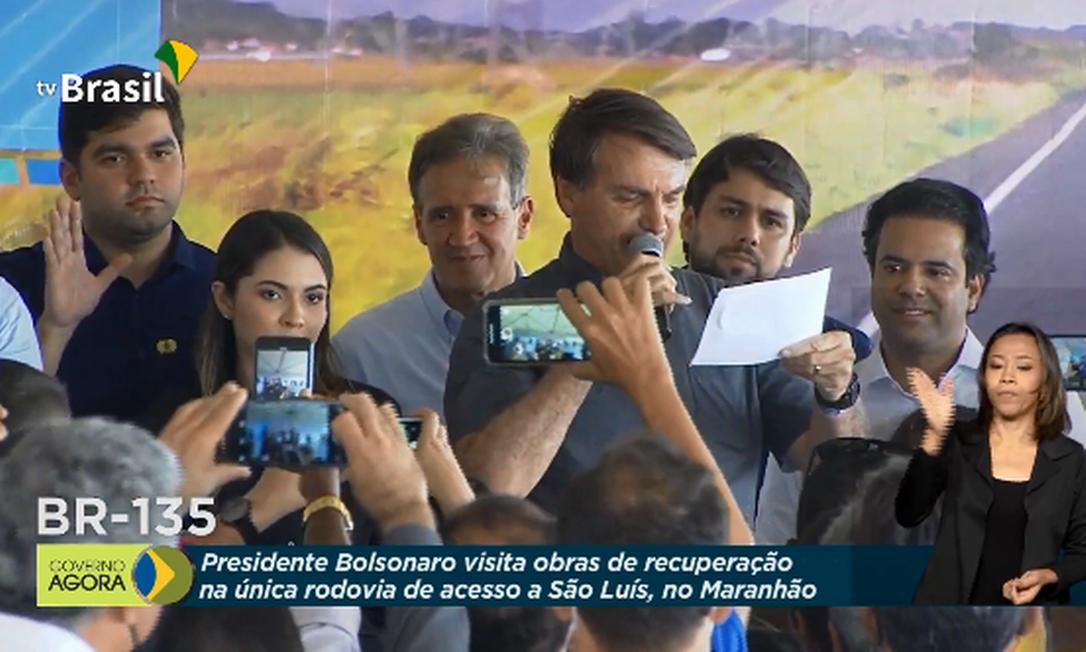 Presidente participa de inauguração de trecho da BR-135, no Maranhão Foto: Reprodução/TV Brasil