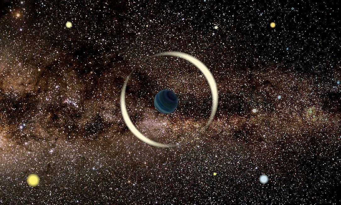 Impressão artística de evento de microlente gravitacional de um planeta flutuante. Foto: Jan Skowron / Astronomical Observatory, University of Warsaw