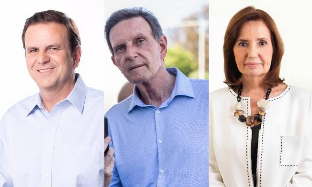 Os candidatos à Prefeitura do Rio Eduardo Paes (DEM), Marcelo Crivella (Republicanos) e Martha Rocha (PDT) Foto: Arquivo O GLOBO