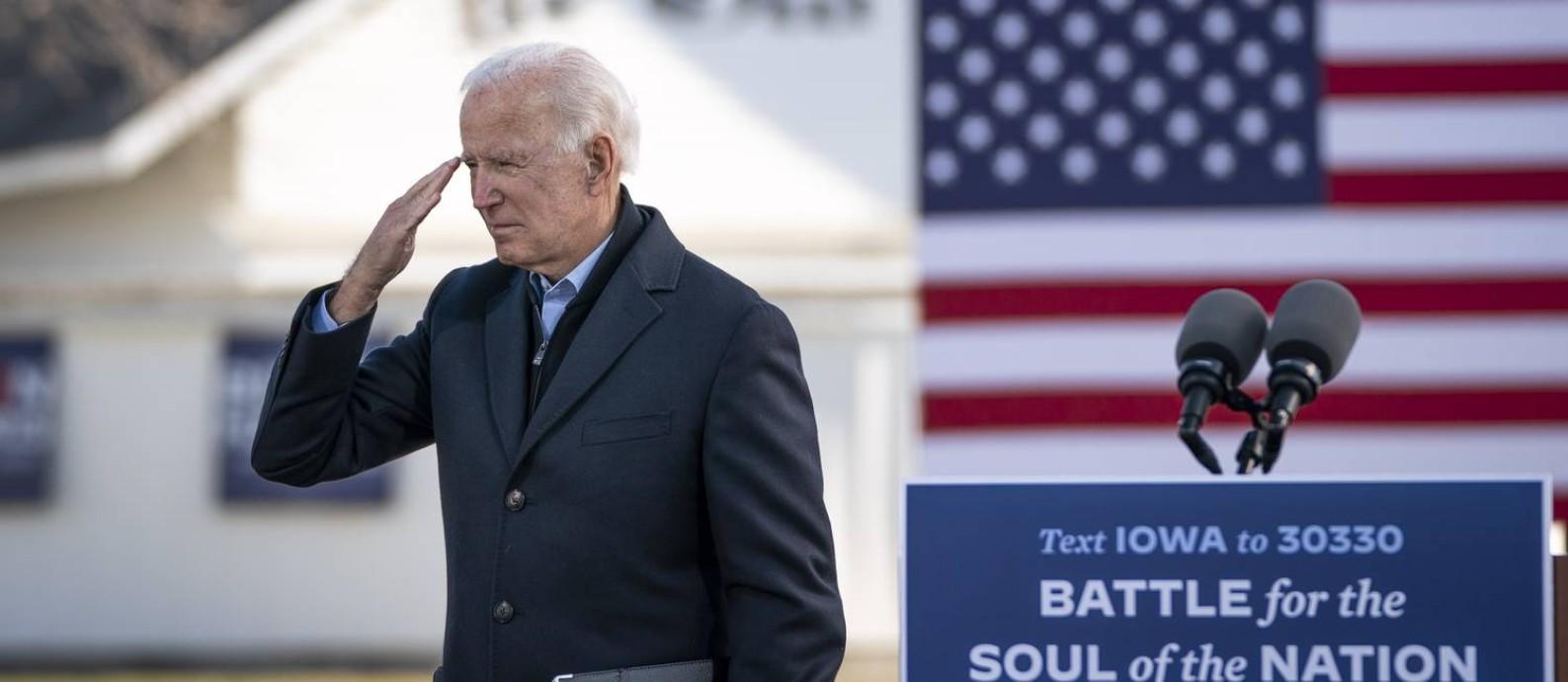 Candidato democrata à presidência dos EUA, Joe Biden, durante evento de campanha em Iowa Foto: Drew Angerer / AFP