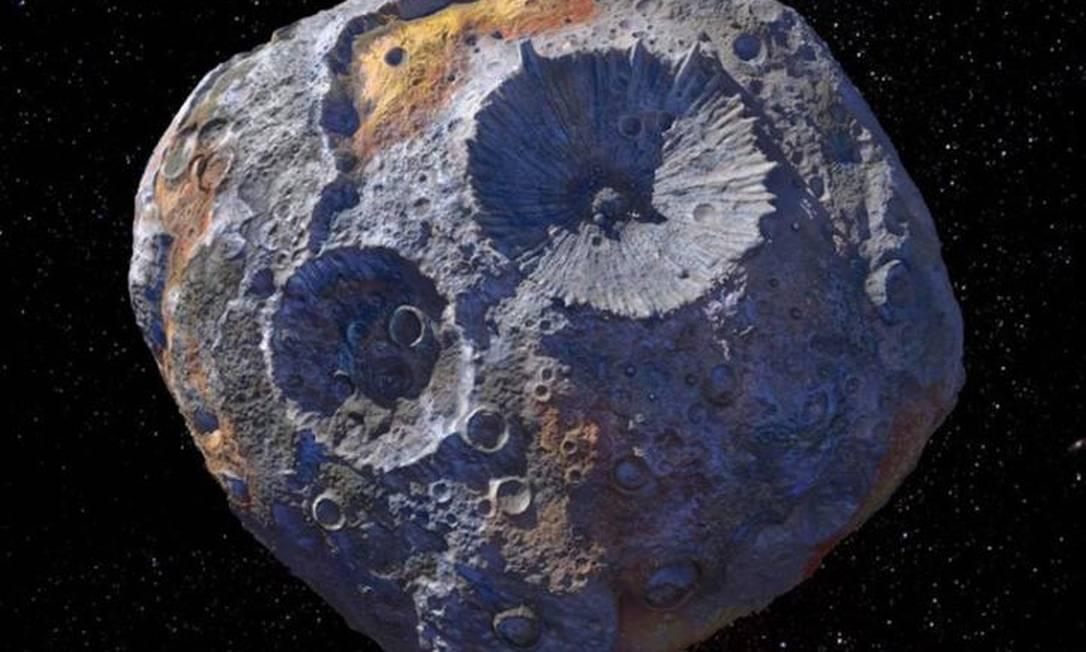 Ilustração do 16 Psyche, asteroide formado inteiramente por ferro e níquel Foto: Maxar/ASU/P. Rubin/NASA/JPL-Caltech