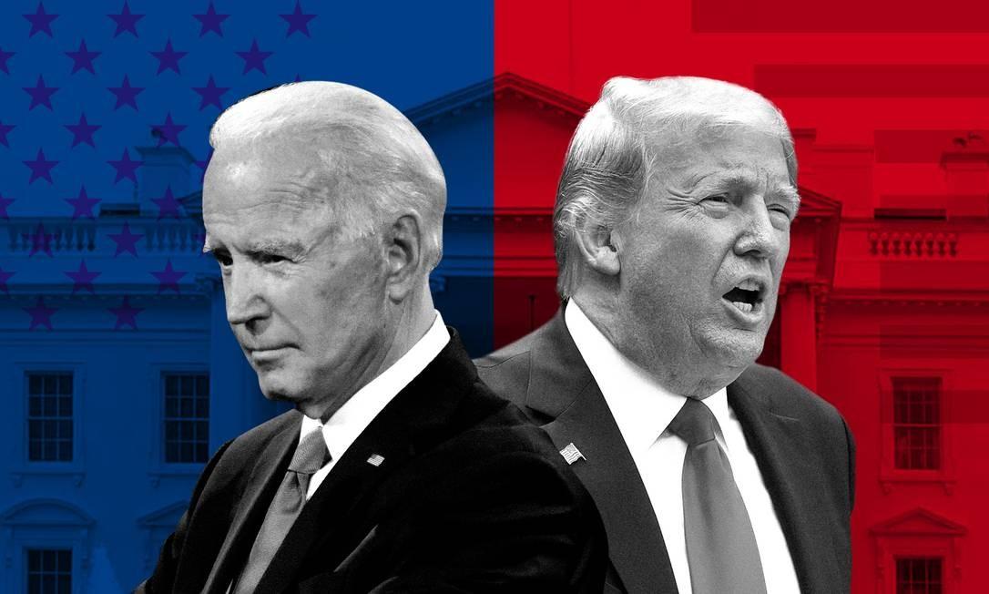 Nesta terça-feira, americanos foram às urnas decidir quem ocupará a Casa Branca pelos próximos dois anos: Joe Biden ou Donald Trump Foto: Arte O Globo