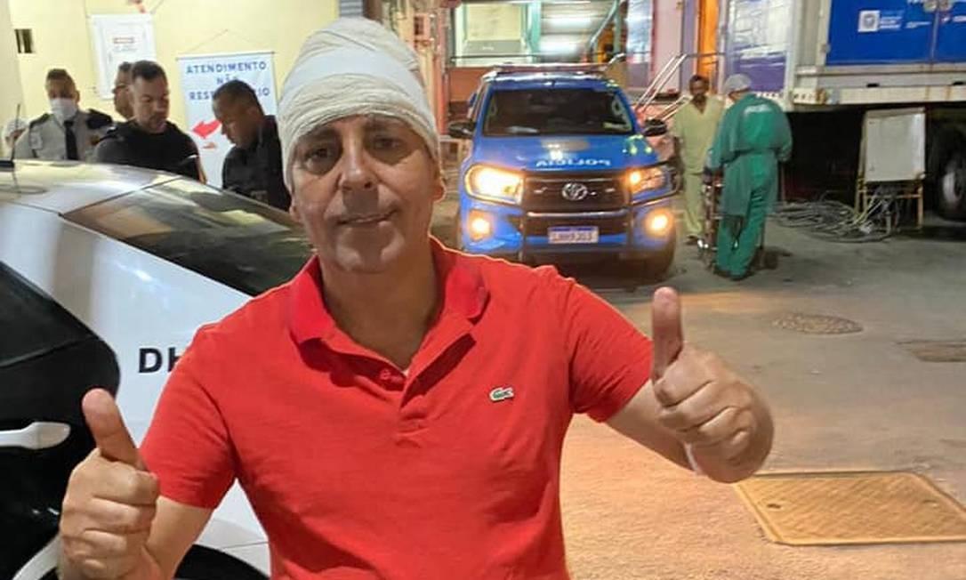 O vereador Zico Bacana (Podemos) recebe alta após ser baleado Foto: Reprodução