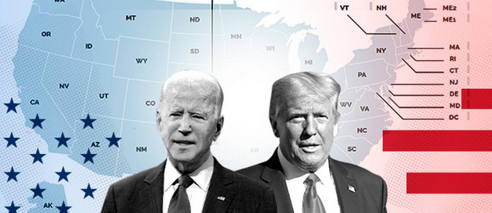 O republicano Donald Trump disputa reeleição com democrata Joe Biden Foto: Editoria de Arte