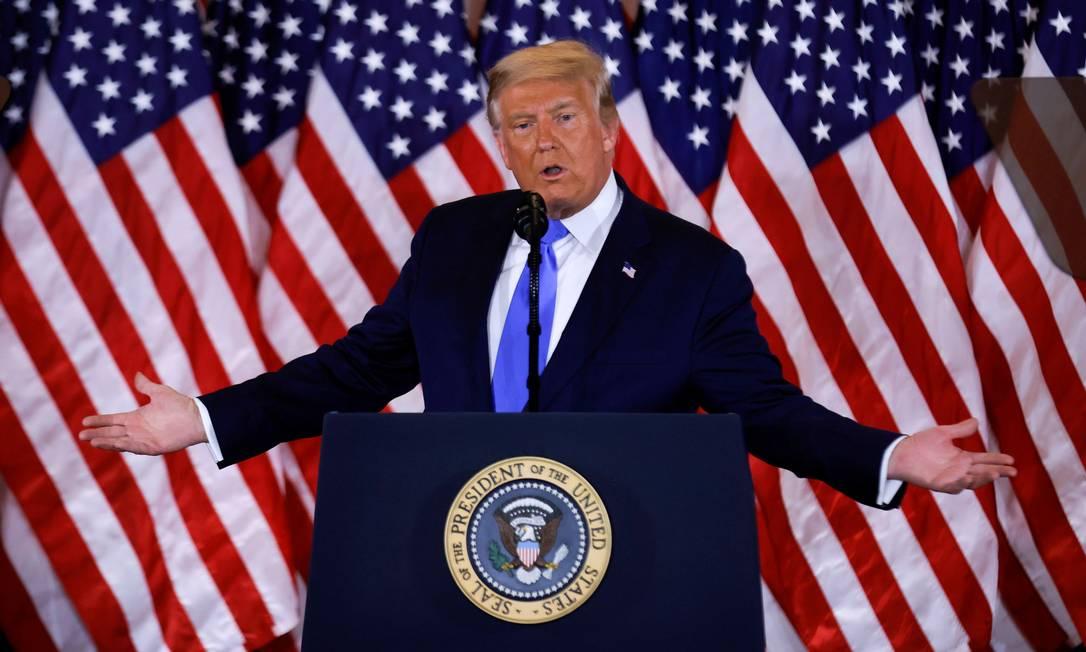 O presidente americano e candidato à reeleição, Donald Trump, se autodeclarou vencedor da eleição Foto: CARLOS BARRIA / REUTERS