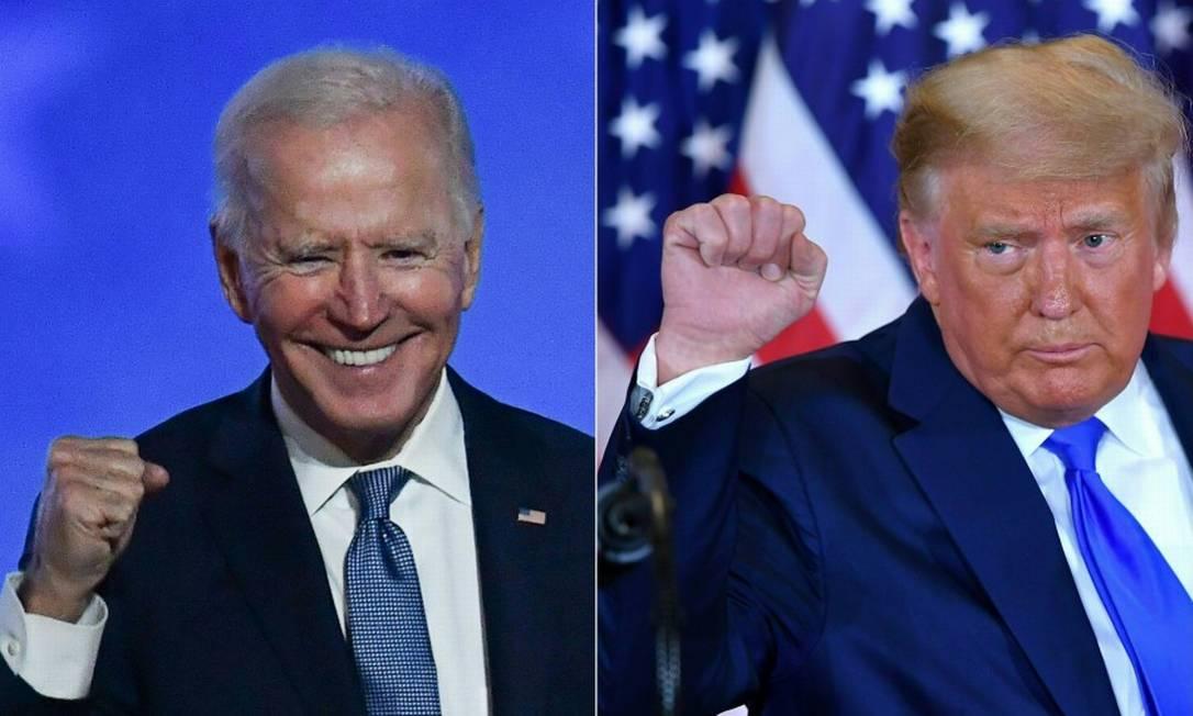 Resultados em cinco estados decidirão quem será o próximo presidente dos EUA: Joe Biden ou Donald Trump Foto: AFP