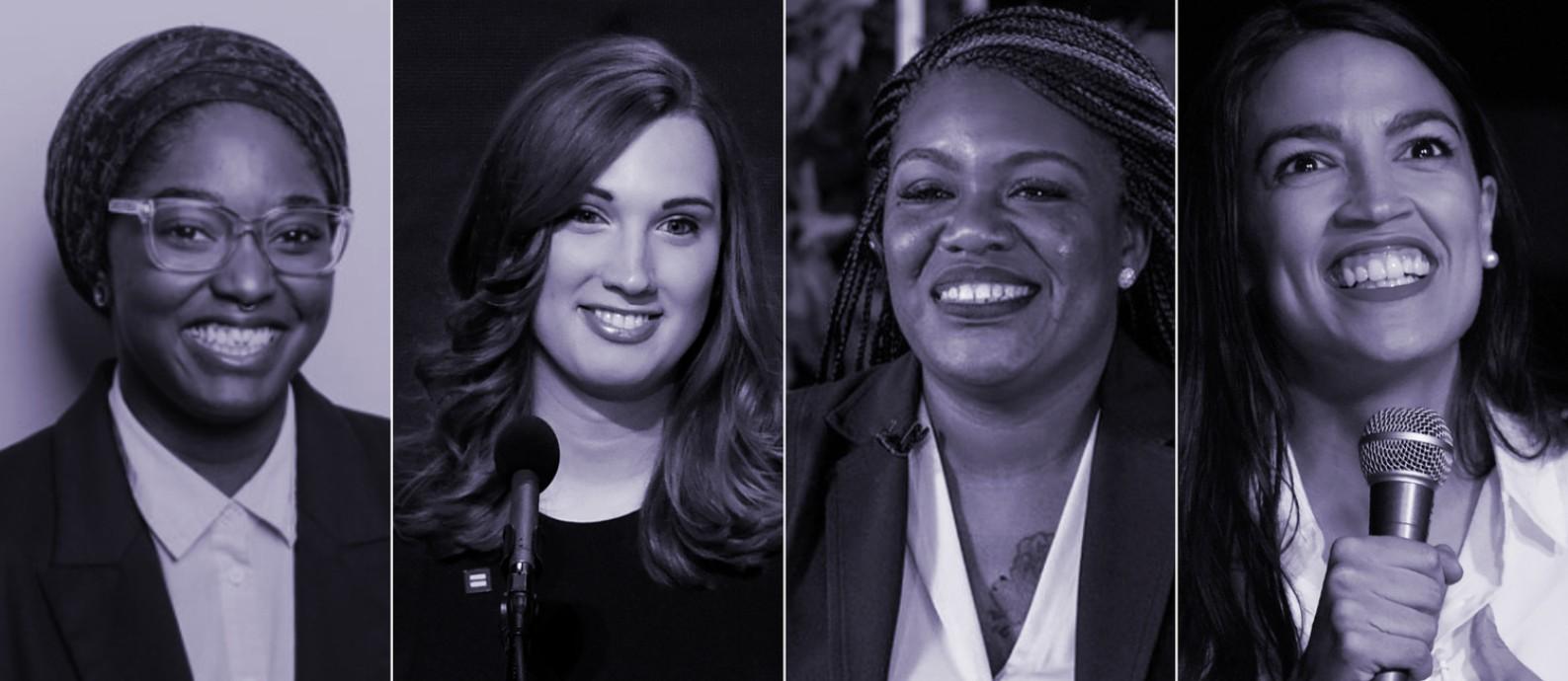 As novatas Mauree Turner, Sarah McBride, Cori Bush e a reeleita Alexandria Ocasio-Cortez vão representar as minorias nas casas legislativas dos EUA Foto: Reprodução