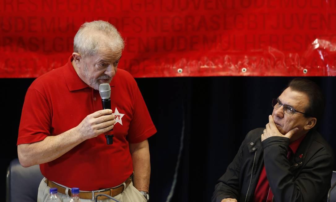O ex-presidente Lula e Luiz Marinho, candidato a prefeito de São Bernardo, durante evento do PT em 2017 Foto: Edilson Dantas / Agência O Globo