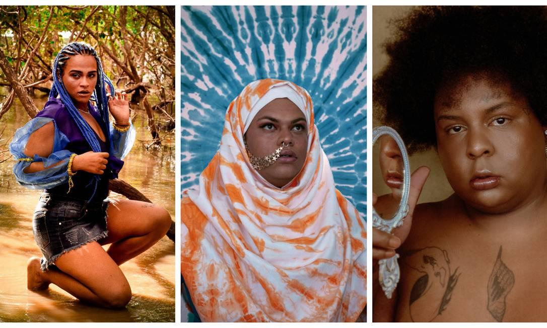 Bixarte (à esq.), Ventura Profana e Jup do Bairro: o novo pop-rap queer Foto: Montagem de fotos de divulgação