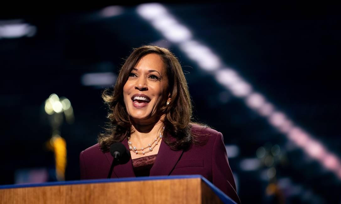 Vice-presidente eleita Kamala Harris durante convenção do Partido Democrata Foto: ERIN SCHAFF / NYT