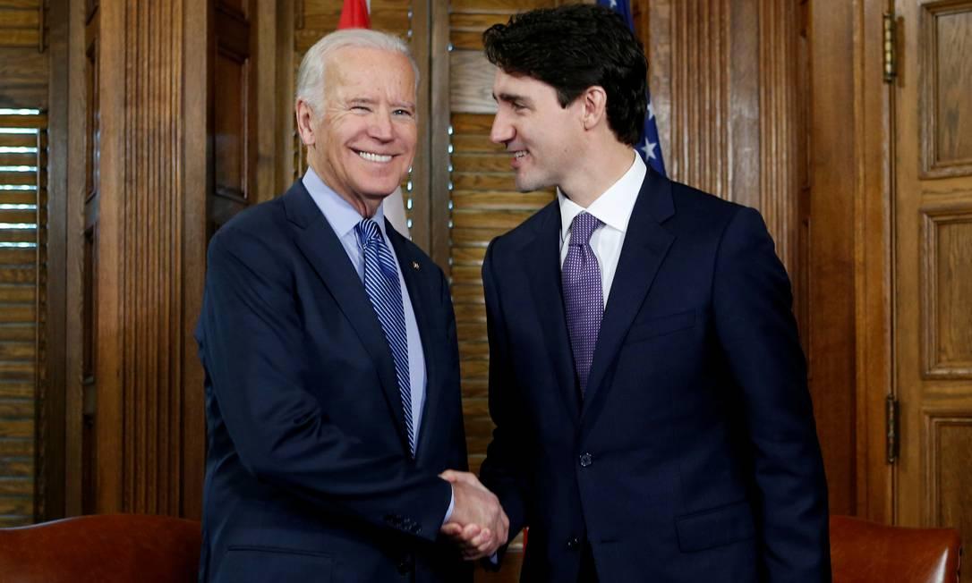 Joe Biden, recém eleito presidente dos EUA, e o primeiro-ministro do Canadá, Justin Trudeau Foto: Chris Wattie / REUTERS 09.12.2016