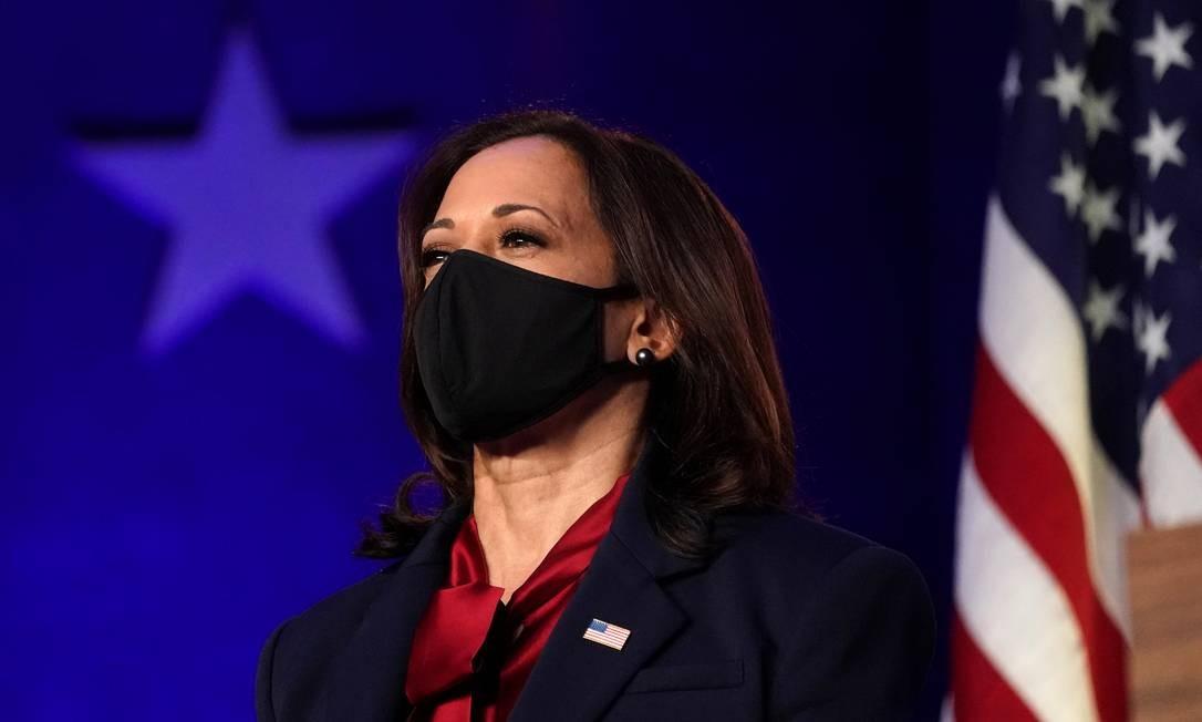 Kamala, senadora democrata da Califórnia, concorreu às eleições de 2019 como candidata na disputa interna do partido à presidência, mas desistiu da campanha antes da prévia Foto: Kevin Lamarck / Reuters