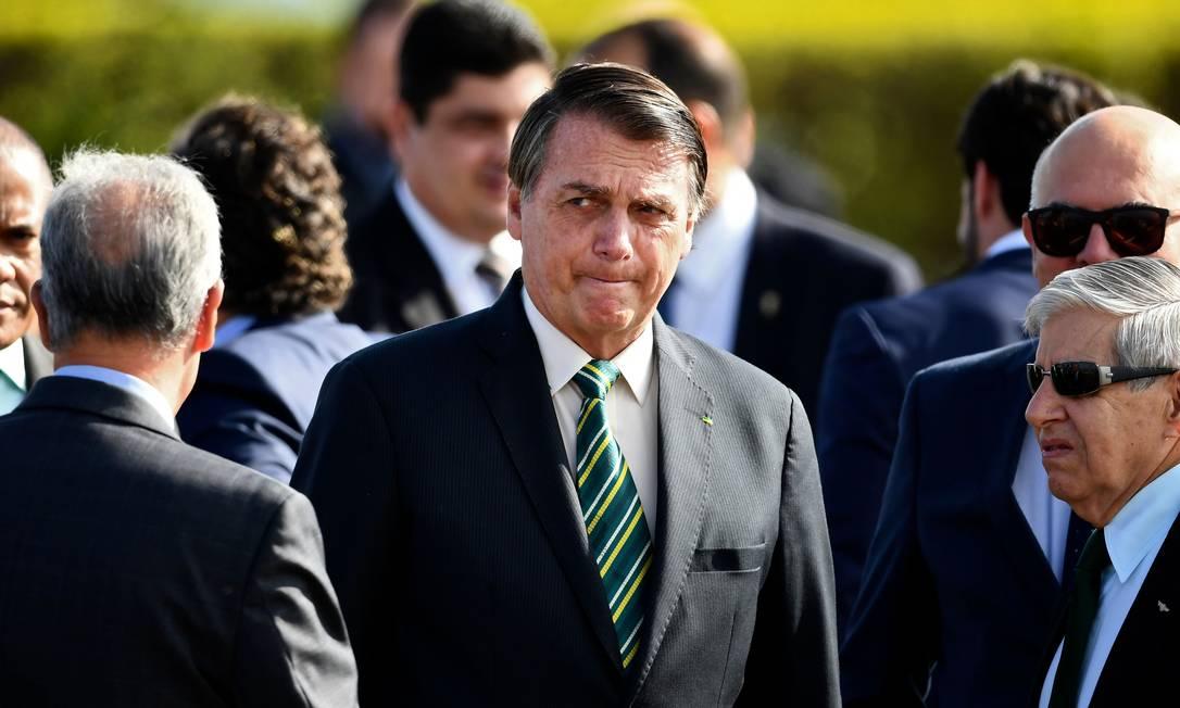 Jair Bolsonaro durante cerimônia no Palácio do Alvorada, em outubro Foto: EVARISTO SA / AFP