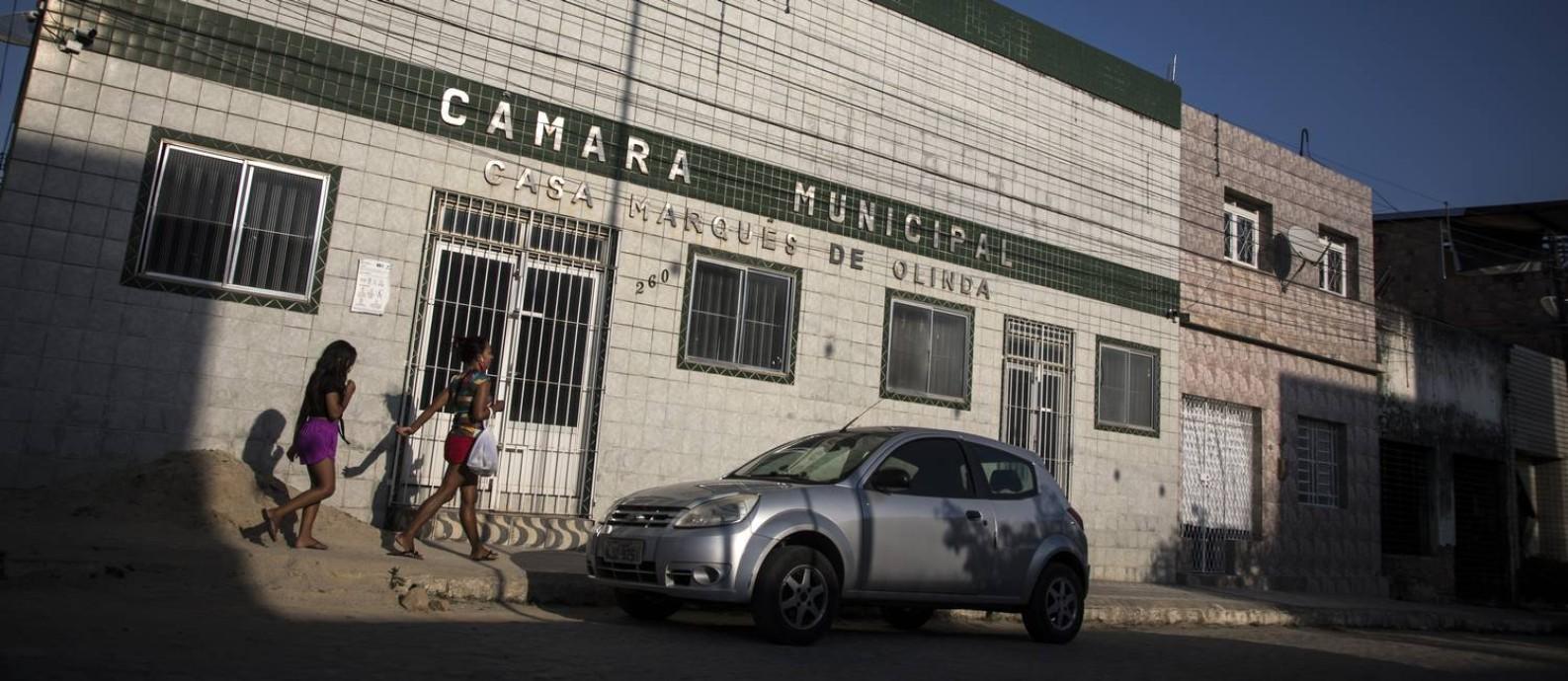 Câmara Municipal de Gameleira, no interior de Pernambuco: dois vereadores foram assassinados na frente da casa legislativa esse ano Foto: Guito Moreto / Agência O Globo