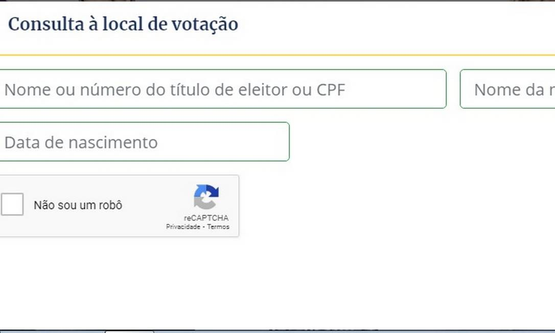 Consulta ao local de votação no site do TSE Foto: TSE