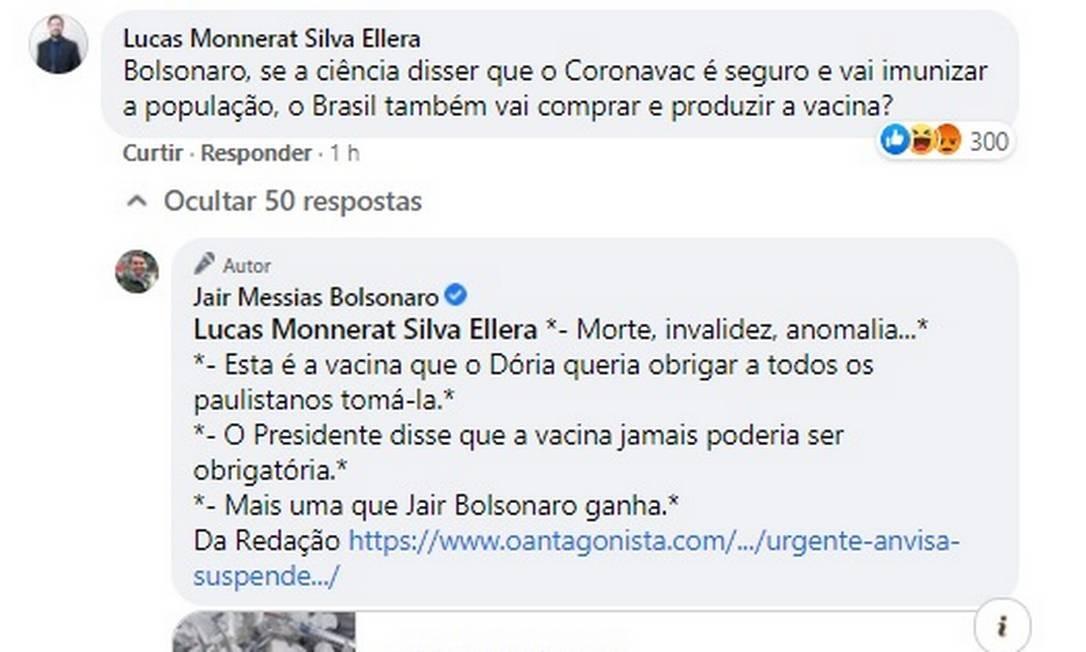 Bolsonaro responde comentário sobre vacina Coronavac Foto: Reprodução/Facebook