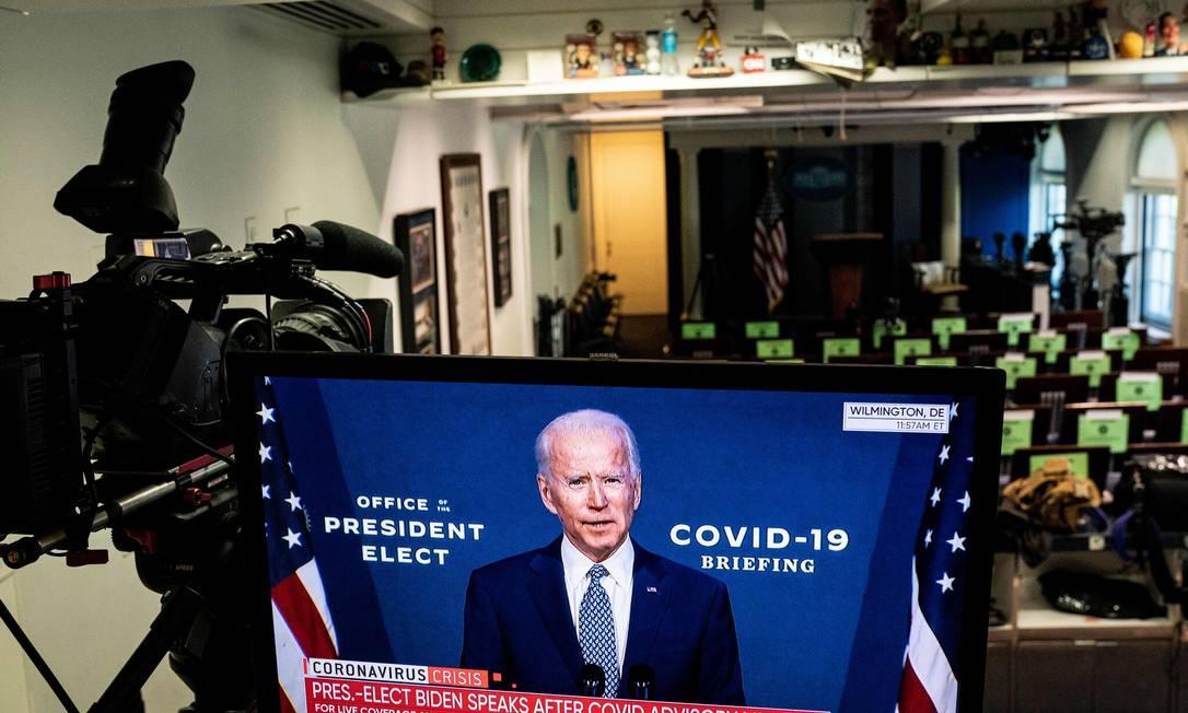 O presidente eleito Joe Biden em pronunciamento Foto: Anna Moneymaker / The New York Times