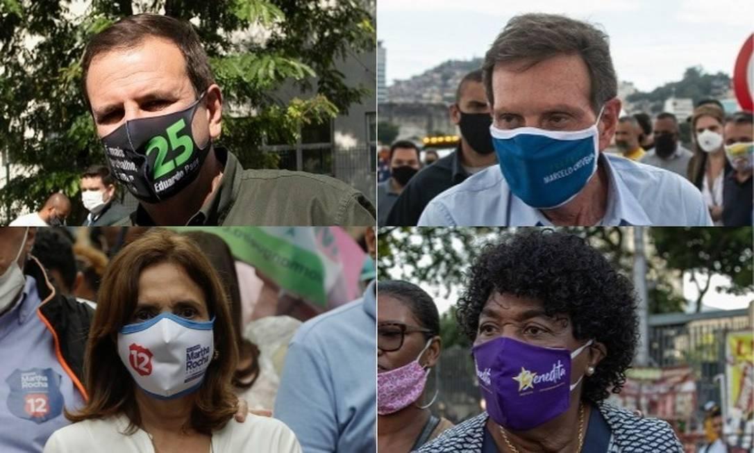 Os candidatos à prefeitura do Rio Eduardo Paes, Marcelo Crivella, Martha Rocha e Benedita da Silva Foto: Arquivo O GLOBO
