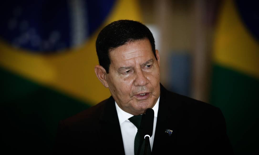 O vice-presidente Hamilton Mourão, durante entrevista coletiva no Itamaraty Foto: Pablo Jacob/Agência O Globo/03-11-2020