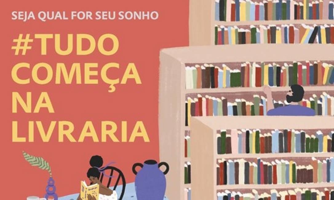 Logomarca e hashtag #tudocomeçanalivraria serão usadas por livrarias e editoras Foto: Divulgação