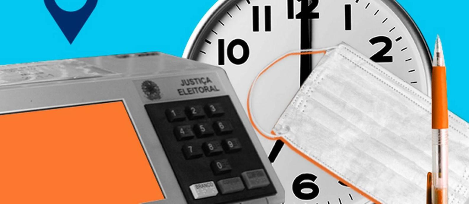 Confira o que levar, horário, local de votação e os cuidados com o coronavírus Foto: Arte/O GLOBO