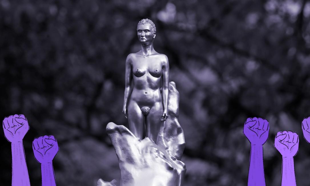 A pensadora feminista Mary Wollstonecraft é homenageada em escultura feita pela artista britânica Maggi Hambling exposta na região norte de Londres Foto: Reuters