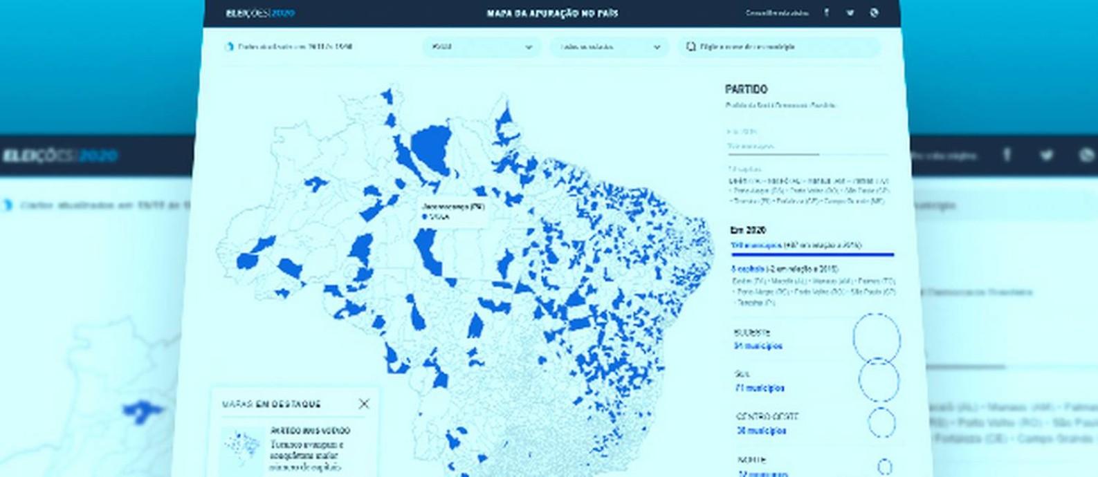 Mapa partidos geral Foto: Ana Costa / O Globo