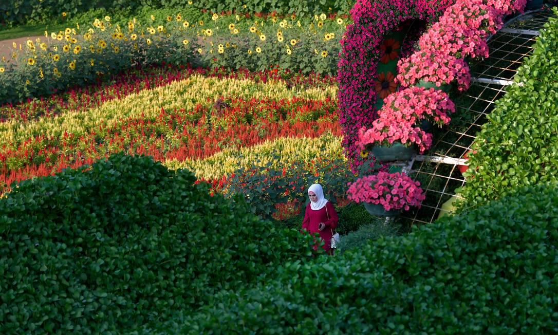 Uma mulher passeia por uma grande instalação de flores no Dubai Miracle Garden, o maior jardim de flores do mundo Foto: KARIM SAHIB / AFP