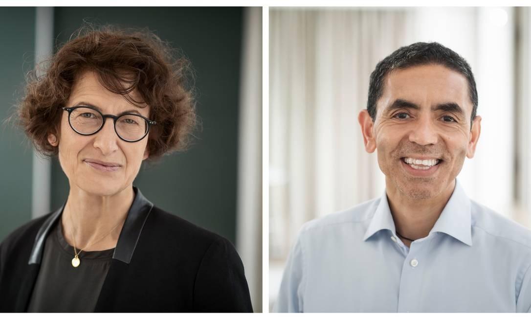 O casal de médicos Özlem Türeci e Ugur Sahin Foto: Biontech / Divulgação