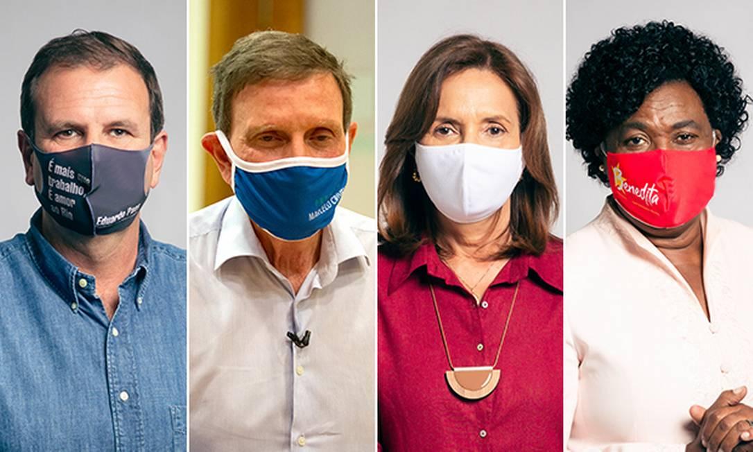 Os candidatos à Prefeitura do Rio Eduardo Paes, Marcelo Crivella, Martha Rocha e Benedita da Silva Foto: Editoria de Arte