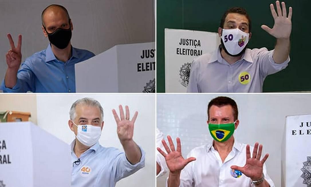Covas, Boulos, Márcio França e Russomanno durante votação em São Paulo Foto: Arte/Agência O Globo