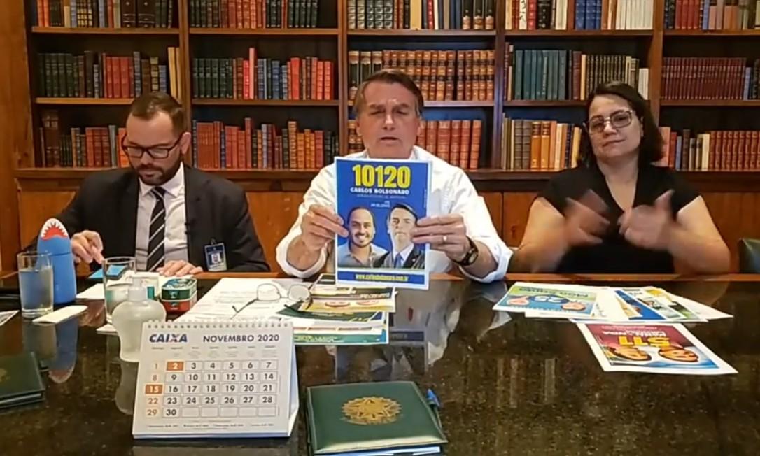 Bolsonaro apoiou publicamente 44 candidatos a vereador em suas lives Foto: Reprodução